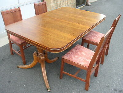 Dining Room Table & Chairs Vintage Cherry Wood Solid Condition