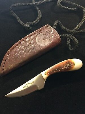 Custom Hand Made Hunting Neck Knife White Burnt Deer Bone Handle Leather Sheath