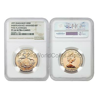 Bahamas 1973 Independence Anniversary Two Flamingos $50 Gold NGC PF64 Ultra Came