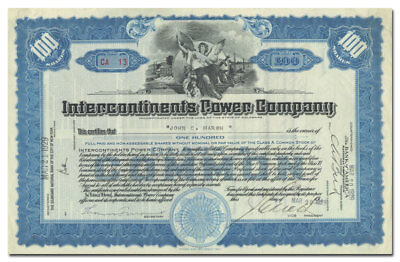 Intercontinents Power Company Stock Certificate (Beautiful Vignette)