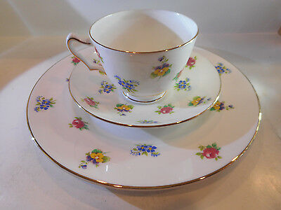 CROWN STAFFORDSHIRE TRIO FLORAL BOUQUET CUP, SAUCER, PLATE MADE IN ENGLAND set#5