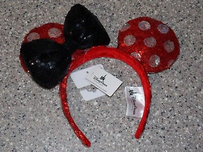 New Disney Parks Minnie Mouse Polka Dot Red White Black Bow Sequin Ears Headband