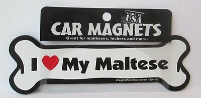 I Love My Maltese Car Magnet, Dog, Souvenir, Refrigerator