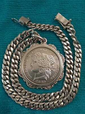 1880 SILVER 37mm Peru coin real *5 Pesetas* *BU* Thick Bezel and Silver necklace