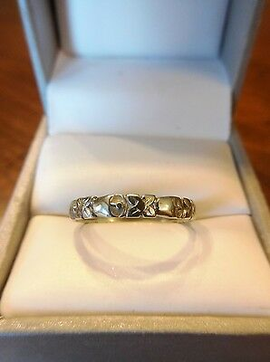 Vintage 14k Art Deco Floral Anniversary Eternity White Gold Ring~Size 7.75 (404)