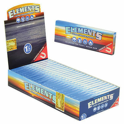 Elements Ultra Thin Rice 1 1/4 Cigarette Rolling Papers Box (24 packs)