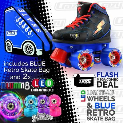 Kids Roller Skates FLASH Blue/Black with BLUE Retro Bag & 2 LED Glitter Wheels!