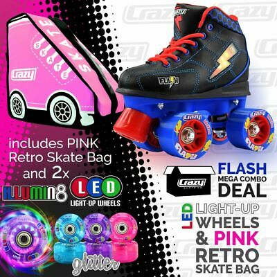 Kids Roller Skates FLASH Blue/Black with PINK Retro Bag & 2 LED Glitter Wheels!