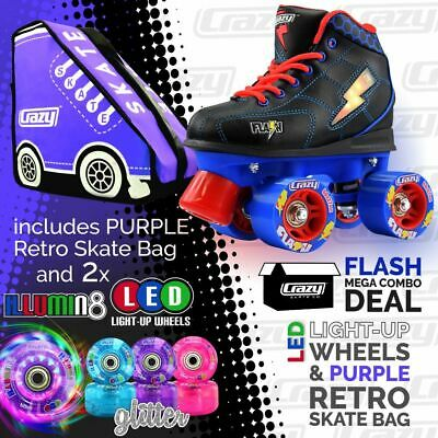 Kids Roller Skates FLASH Blue/Black with PURPLE Retro Bag & 2 LED Glitter Wheels