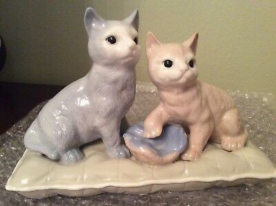Baby blue and pink Kitty Cats On Pillow