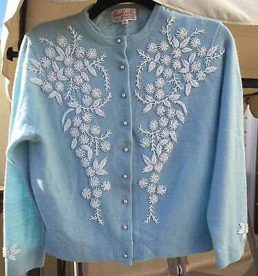 1950'S-60'S Pale Baby Blue Classic Beaded Cardigan