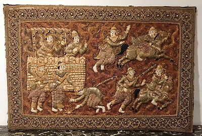 Antique Burmese Thailand Kalaga Tapestry - Tony Duquette Collection