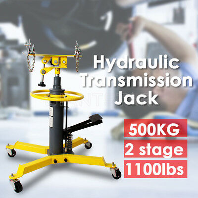 0.5 Ton Hydraulic Transmission Jack Stand Gearbox Lifter Hoist 500kg 2 Stage OZ