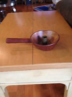 Early American Style Primitive Simulated Wood And Brass Candle Holder