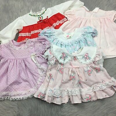 Vintage Lot 5 Baby Reborn Doll Ruffle Dress Tops Lace Floral Pink Frilly
