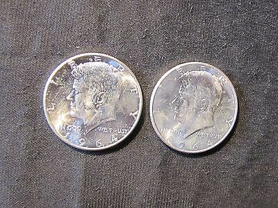 Lot of 2 1964 Kennedy Silver Half Dollars - High Grade
