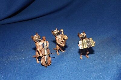 "Vintage to Antique Vienna Bronze 3 Piece Boxer Dog Band Unsigned 1 1/2""High Ea"