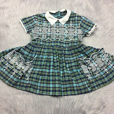 Vintage Toddler Girls 1950s Blue Green Plaid White Embroidered Fall Dress *As Is