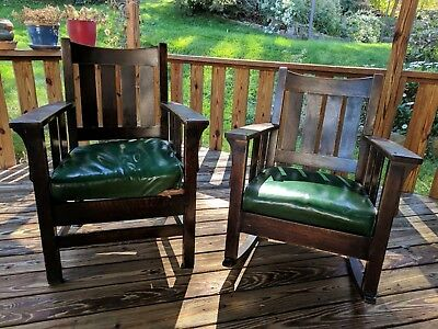 Pair - Most Likely Stickley - Antique Mission Oak Arm Chair And Rocking Chair