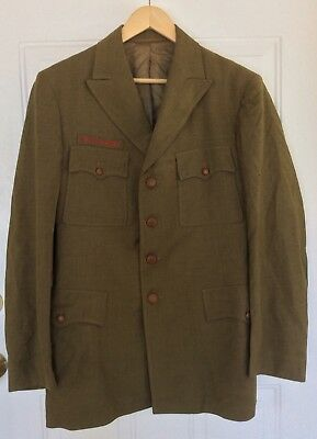 Rare Boy Scouts Of America Olive Green Wool Uniform Jacket Size Med