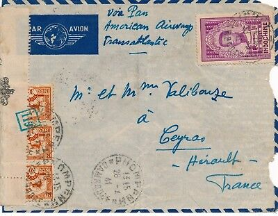 1941 indochina HONG KONG usa france paa 2 ocean AIR MAIL route censor cover