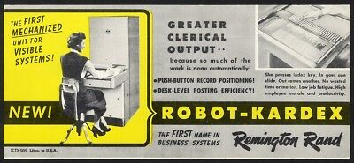 Ink Blotter REMINGTON RAND Robot Kardex Machine c 1940's Office Business Filing