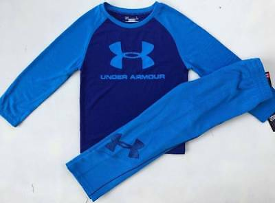 Boys Size 4 Under Armour Blue Shirt & Pants Fall & Winter Outfit Nwt