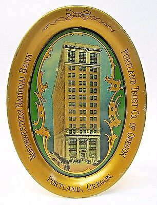 c.1913 NORTHWESTERN NATIONAL BANK Portland Oregon advert. tin litho tip tray *