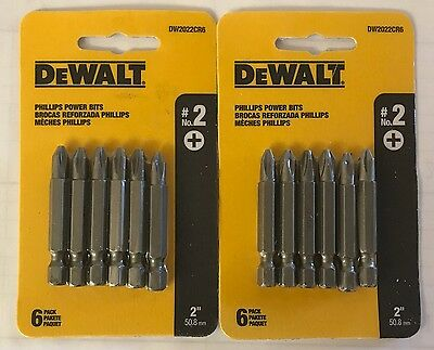 "Dewalt 12 Pc 2"" P2 Phillips Power Bits Dw2022Cr6 Screw Bits (2 Packs 6 Bits Ea)"