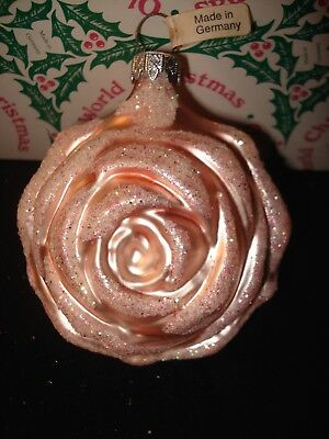 Old World Christmas Pink Rose Glass Blown Ornament