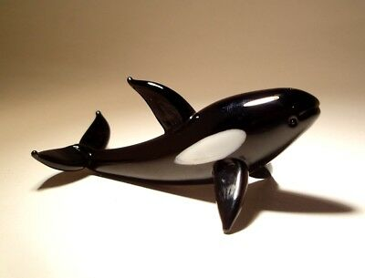 "Blown Glass Figurine ""Murano"" Animal Fish Marine Life Black and White Orca WHALE"