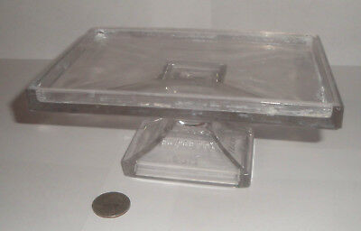 Clark's Teaberry Gum Pressed Glass Store Display Stand Footed Tray as is chips