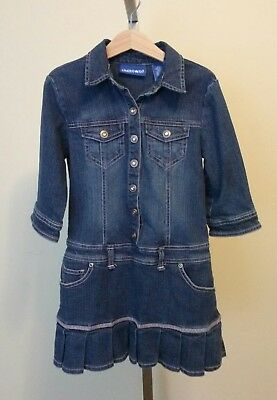 Limited Too Girls Blue Denim Skort Jean Dress Pink Rhinestone Snaps Size 7