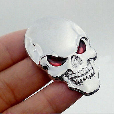 3D Auto Car Decor Sticker Metal Skull Bone Emblem Badge Decal Motorcycle Orament