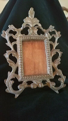 vintage heavy cast metal iron ornate rococo style easel photo/picture frame