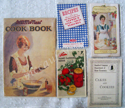 5 Vintage Cook Booklets Pamphlets FW McNess Clinton Dr Jayne & Son Rumford Kerr