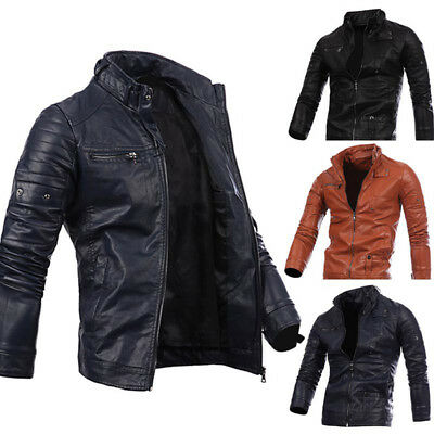 Men's Fraux Leather Jacket fashion Slim Fit Biker Motorcycle Jacket Red NEW