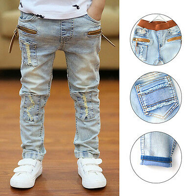 Kids Boys Stars Print Children Elastic Waist Stylish Pants Jeans Size 2-7 Years
