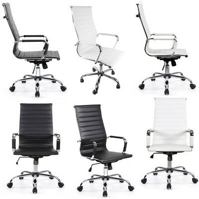 Adjustable Swivel Office Chair PU Leather High&Med Back Executive Computer Desk