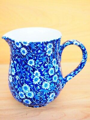 Old Large Size Blue And White Calico Burleigh Milk Jug, (H663)