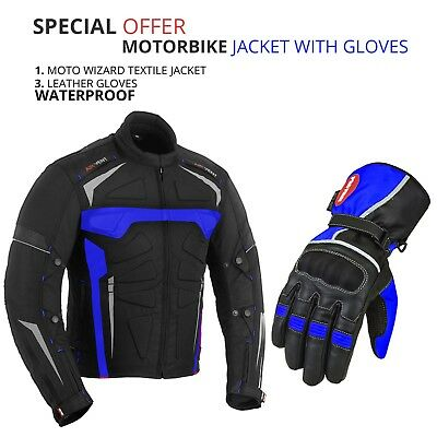 Motorcycle Textile CE Armoured Jacket With Motorbike Waterproof Leather Glove