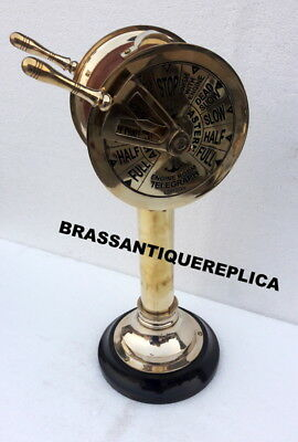 """14""""  BRASS Telegraph WOOD BASE COVERED RED LEATHER CHRISTMAS GIFT"""