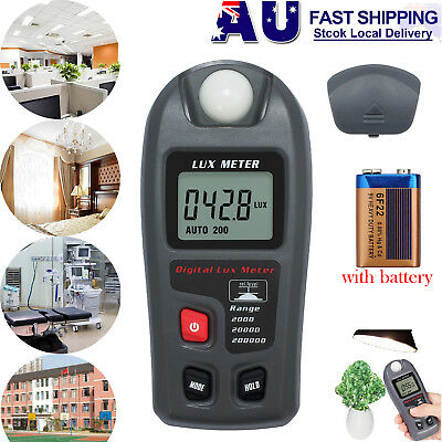 0.1~ 200000 Lux Digital LCD Luxmeter Light Meter LCD Display Measuring Tester AU