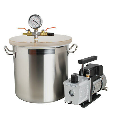 5 Gallon Stainless Steel Vacuum Degassing Chamber Silicone w/3 CFM Pump Hose Lid