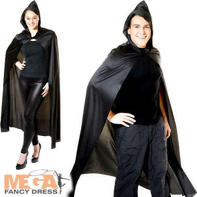 Long Hooded Black Cape Adults Fancy Dress Halloween Vampire Mens Ladies Costume