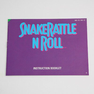 Snake Rattle N Roll Instruction Manual - NEAR MINT Entertainment System NES PAL