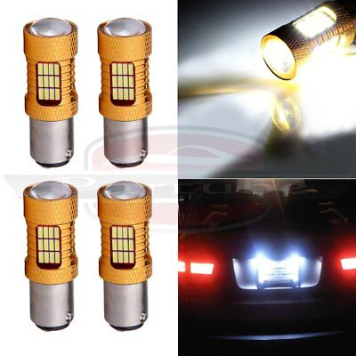 4x 6000LM 1157 BAY15D Cree LED 54 SMD 6000K Turn Signal Projector Lamp Light