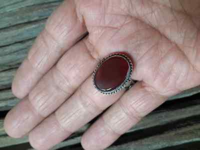 MEN Islamic RING Agate STONE Nomadic ANTIQUE Afghan Intaglio carving vtg SZ 10 L