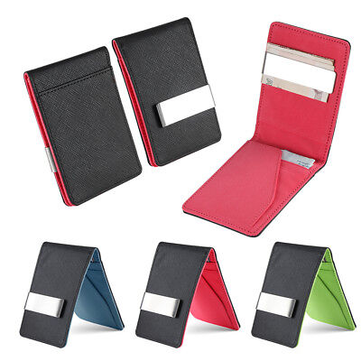 Mens Genuine Leather Silver Money Clip Slim Wallets Purse ID Credit Card Holder