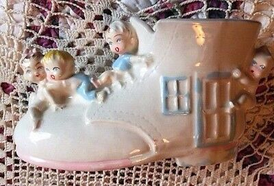 Vintage Baby Shower Nursery Planter Old Lady In a Shoe w Babies 1950's Japan